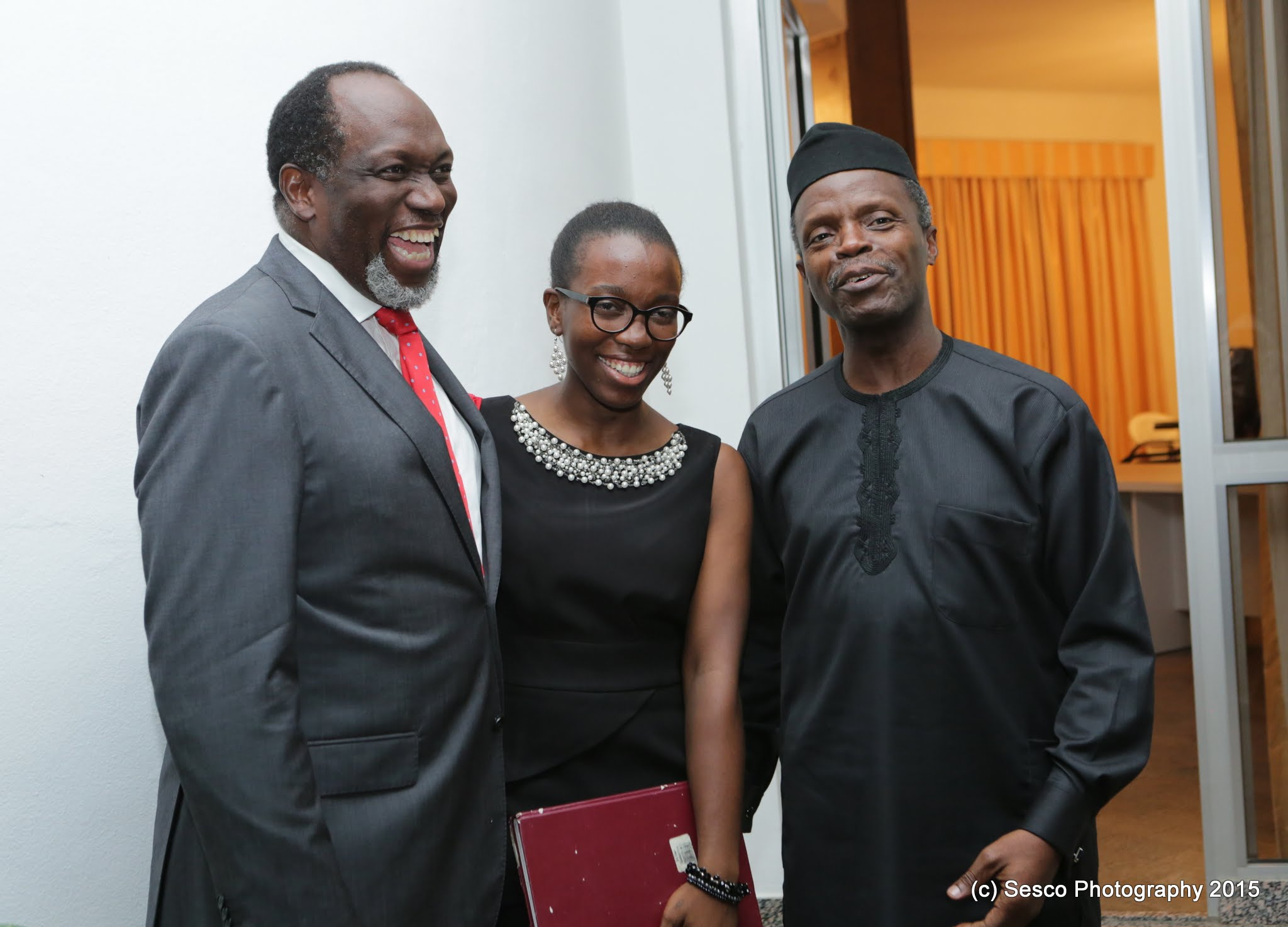 VP Osinbajo Meets With Dr. Tunde Ayeye And Daughter On 12/05/2015