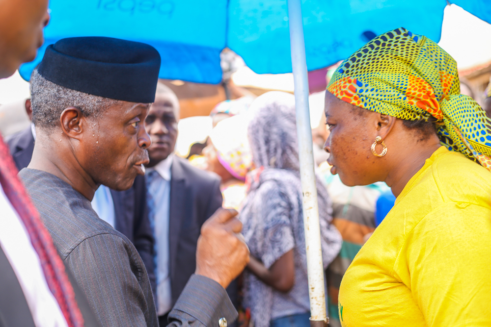 VP Osinbajo In Oyo State For Launch Of FG's Trader Moni Scheme In Bola Ige-Gbagi Market, Ibadan.