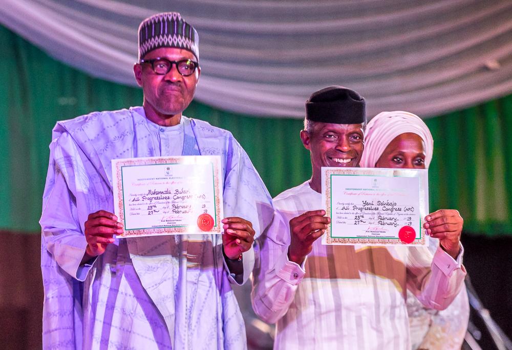 President Buhari And Vice President Osinbajo Receive Certificates Of Return From INEC On 27/02/2019
