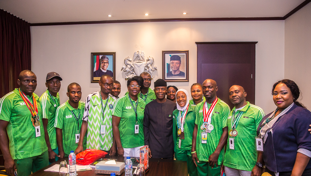 VP Osinbajo Receives Nigerian Athletic Masters (NAM), Led By Chairman, Chief Falilat Ogunkoya On 09/08/2019