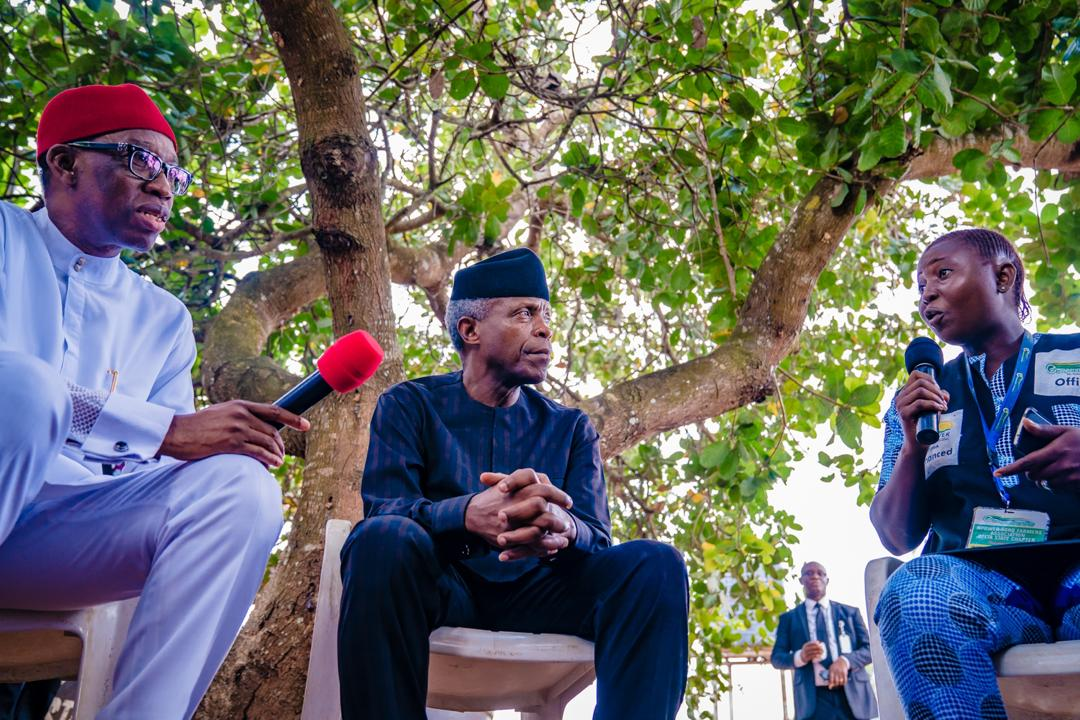 VP Osinbajo's Family Chats; Visits Eseoghene Adiomamore, Founder Of N-Power Agro Farmers' Association (Delta) On 07/11/2019