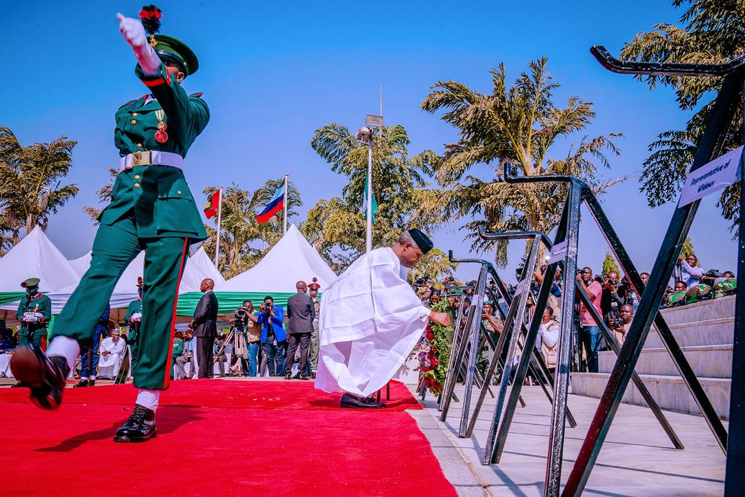 VP Osinbajo lays The Wreath At The 2020 Armed Forces Remembrance Day Parade On 15/01/2020