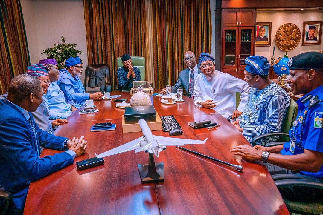 VP Osinbajo, On Behalf Of President Buhari, Met With Southwest Governors, AGF & IG Of Police Amotekun On 23/01/2020