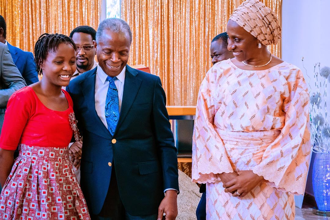 VP Osinbajo Meets With Damilola Oriowo, His Young Supporter At His 63rd Birthday Celebration On 08/03/2020