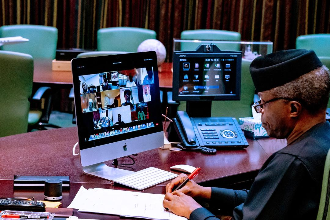 VP Osinbajo Chairs Virtual Meeting Of Members Of Economic Sustainability Committee Interacting With State Governors On ESC Plan On 28/05/2020