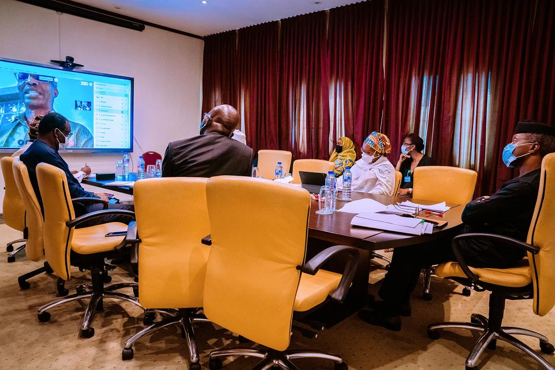 VP Osinbajo Chairs ESC Meeting With Members Of The Presidential Economic Advisory Council Co-chaired By Prof. Doyin Salami On 30/04/2020