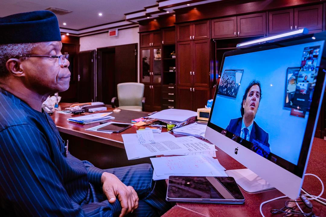VP Osinbajo Attends Virtual Interaction With Members Of French Business Confederation (MEDEF) On 12/11/2020