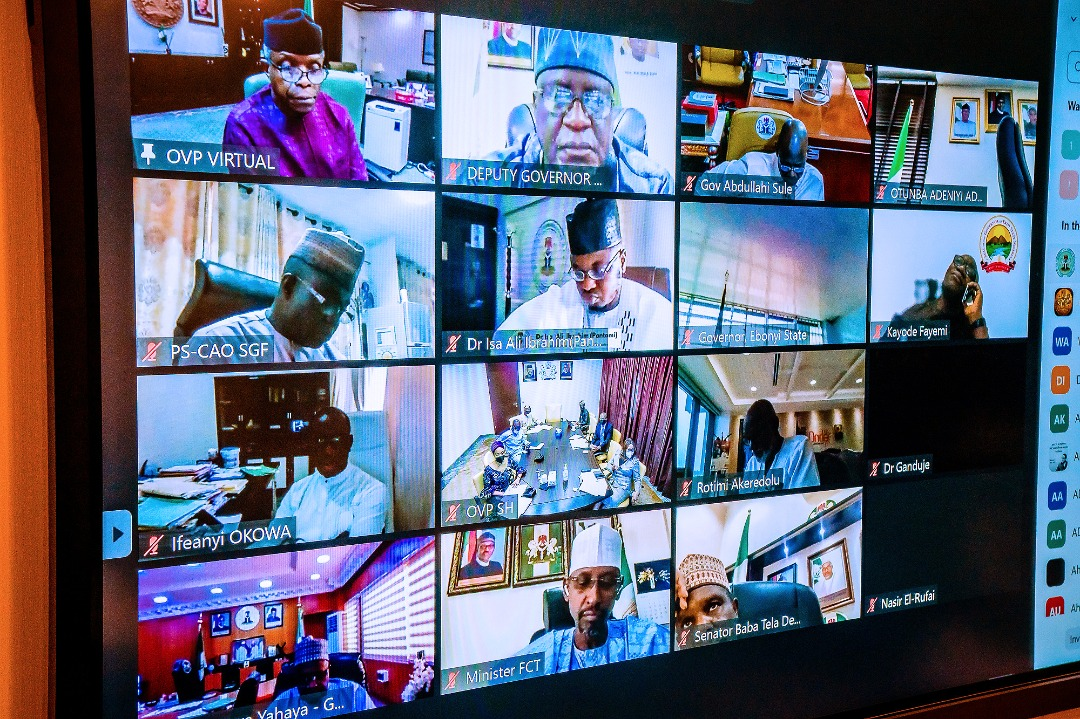 VP Osinbajo Presides Over Virtual National Economic Council Meeting Where He Launched PEBEC Ease Of Doing Business Subnational Baseline Survey On 18/03/2021