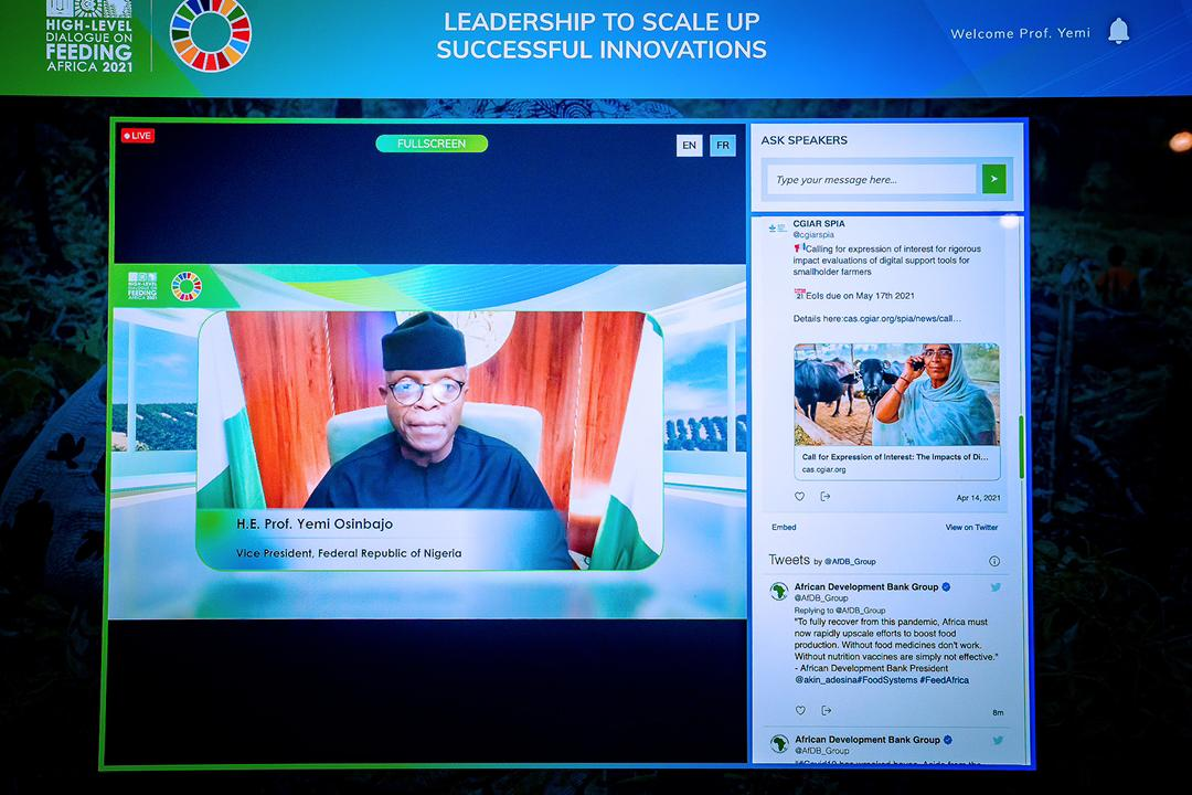 """VP Osinbajo Delivers Remarks At AfDB Heads of State High Level Dialogue Themed """"A Shared Commitment To Transforming Agriculture In Africa"""" On 29/04/2021"""
