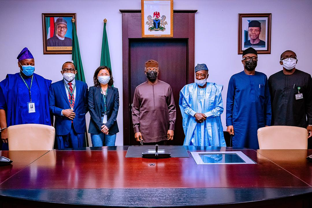 VP Osinbajo Receives AFDB Officials On The Industrial Zone Led By Toda Atsuko, Acting Vice President, Agriculture, Human & Social Development On 16/04/2021