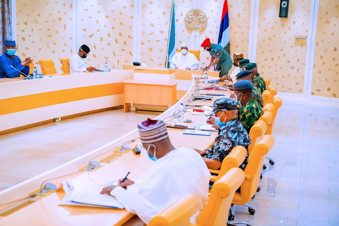 President Buhari Presides Over A National Security Meeting At State House On 30/04/2021