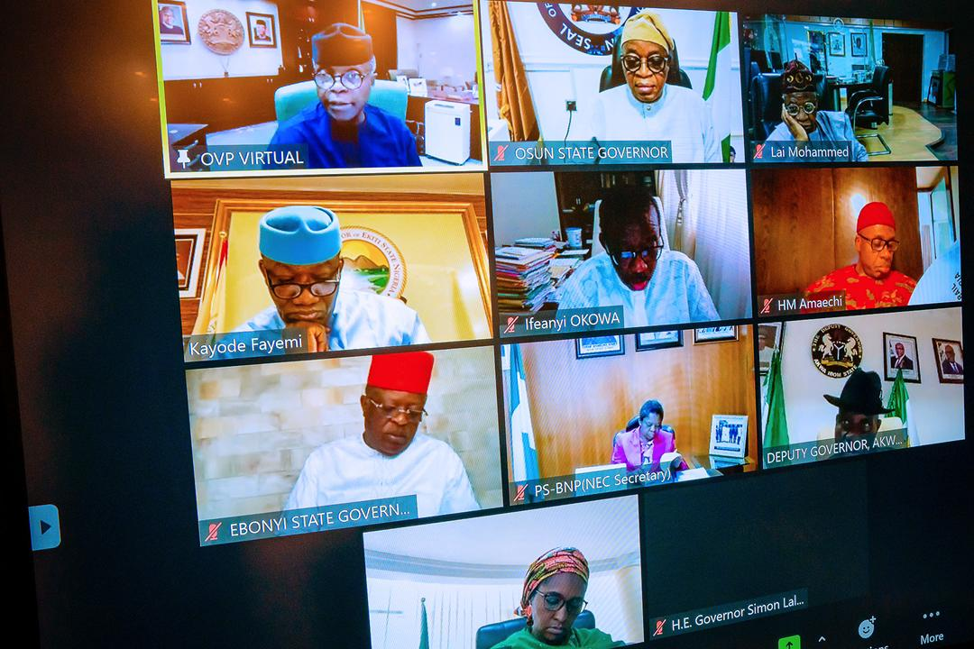 VP Osinbajo Presides Over Virtual National Economic Council Meeting At State House On 22/04/2021