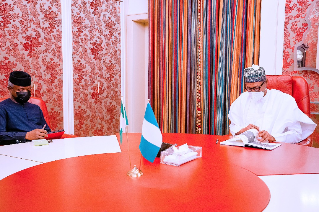 President Buhari  Receives Briefing From VP Osinbajo At The State House On 19/04/2021