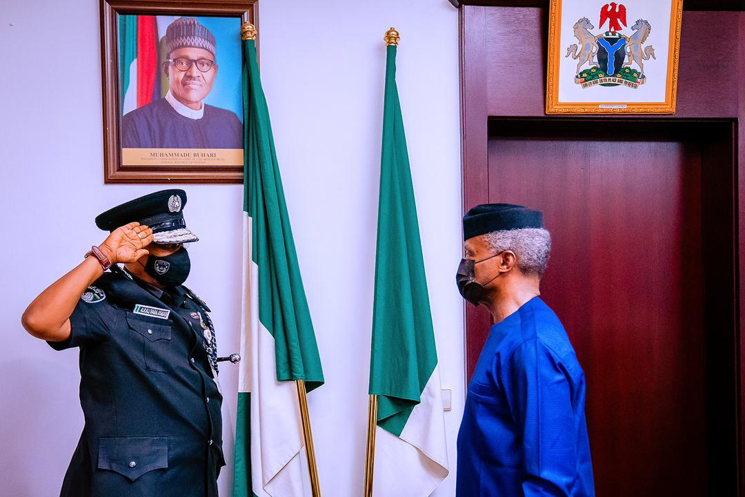 VP Osinbajo Decorates New Acting Inspector General Of The Nigeria Police Force, Usman Alkali Baba On 07/04/2021