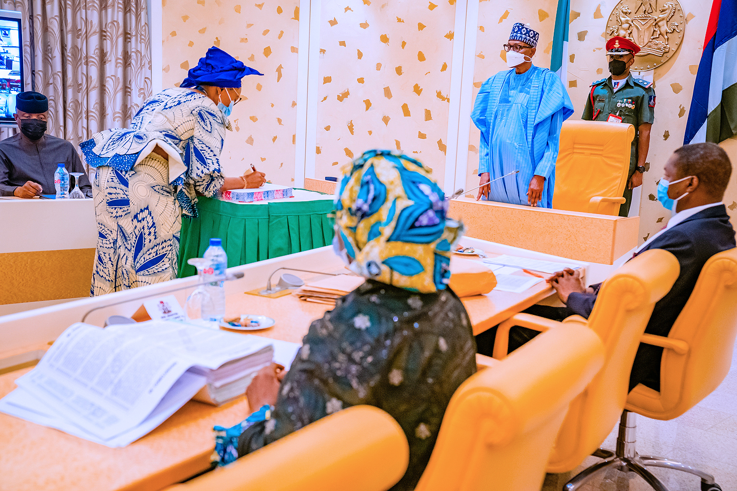 President Buhari Swears In 5 New Permanent Secretaries & Presides Over Virtual Federal Executive Council Meeting On 14/07/2021