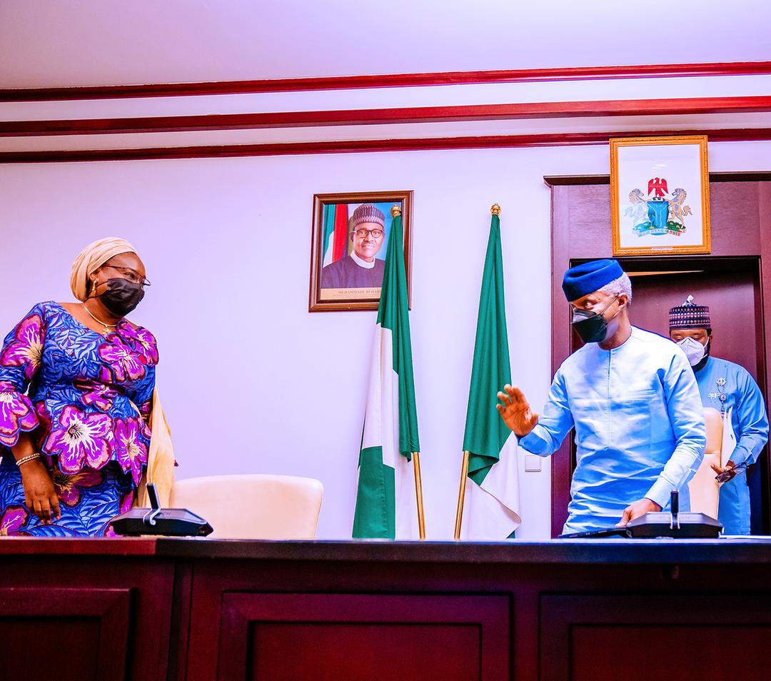 VP Osinbajo Receives The Federal Civil Service Strategy Plan 2017-2021 Implementation Status Report From Head Of Service, Mrs. Yemi Esan, On 12/08/2021