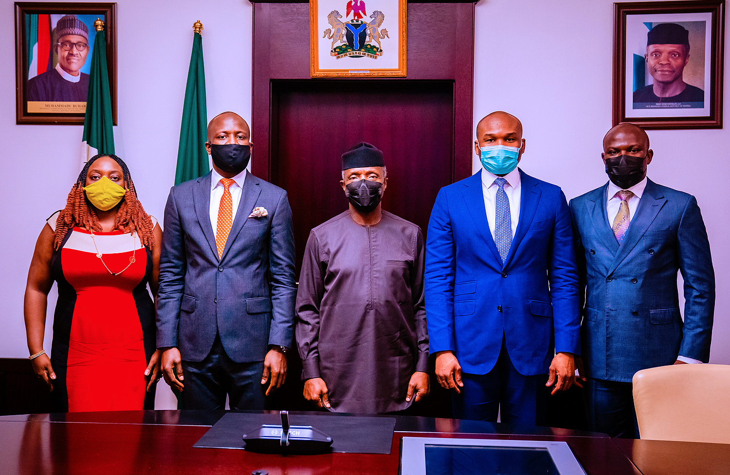 VP Osinbajo Receives Management Of Nigerian Exchange Group Led By The CEO, Mr. Temi Popoola On 02/08/2021