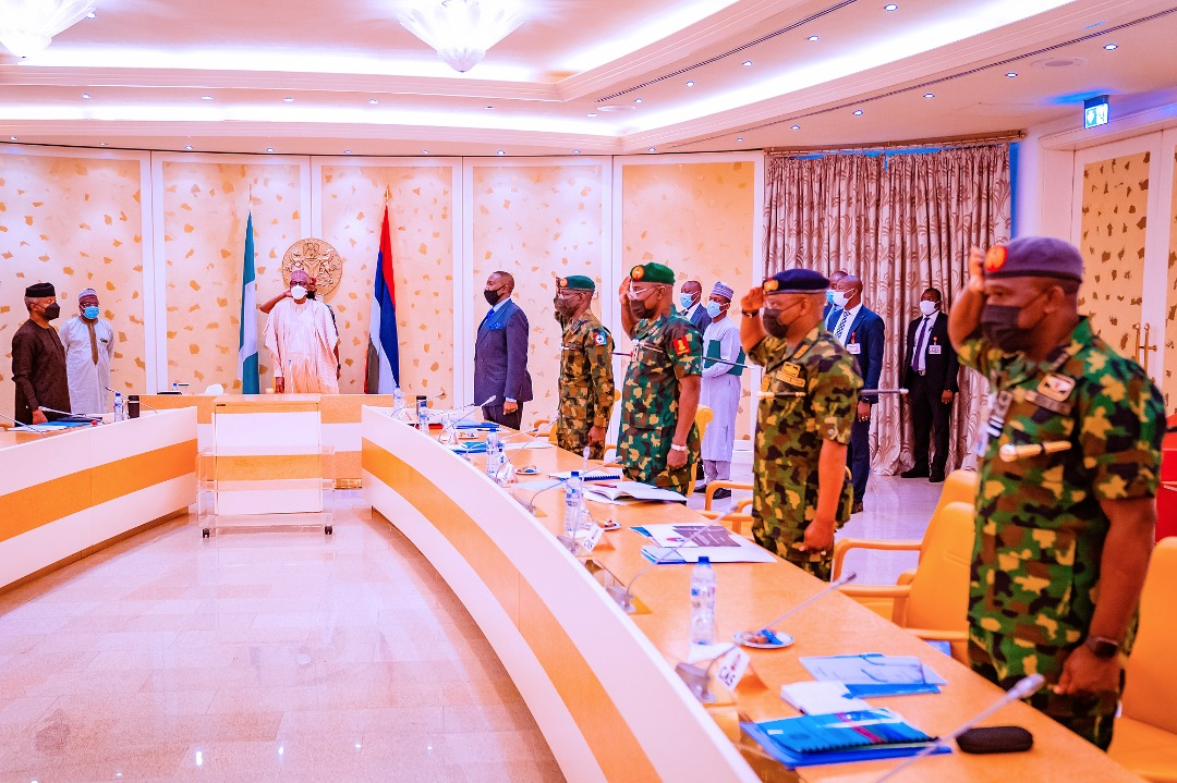 President Buhari Receives Security Briefing From Service Chiefs At The State House On 21/10/2021
